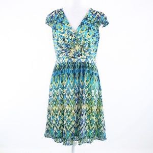 Andrew Marc turquoise blue white A-line dress 8